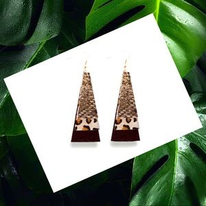 NWT Genuine leather animal print earings.